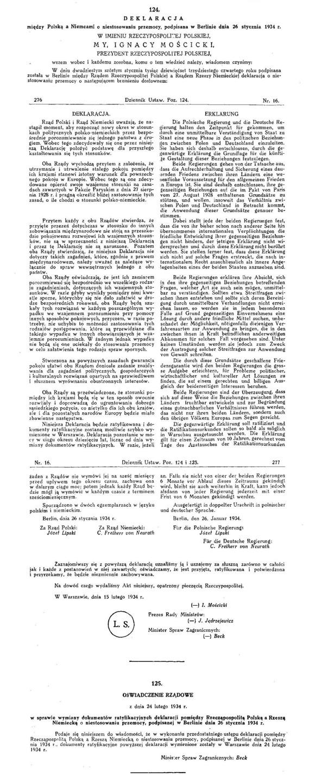 Декларация о неприменении силы между Германией и Польшей / Deklaracja między Polską a Niemcami o niestosowaniu przemocy / Declaration on the non-use of force between Germany and Poland, 1934