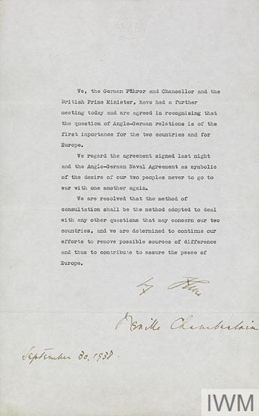 Англо-германская декларация, 30 сентября 1938 / The Anglo-German Declaration, 30 September 1938 © Crown copyright: IWM (Documents 4998)