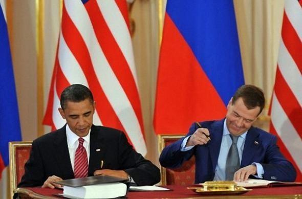 Подписание Договора Д.А. Медведевым и Б.Абамой, Прага, 8 апреля 2010 г.