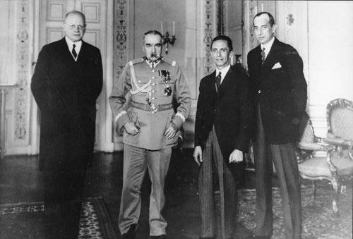 Посол Германии в Варшаве фон Мольтке, Ю. Пилсудский, И. Геббельс, Ю. Бек, 1934 г.
