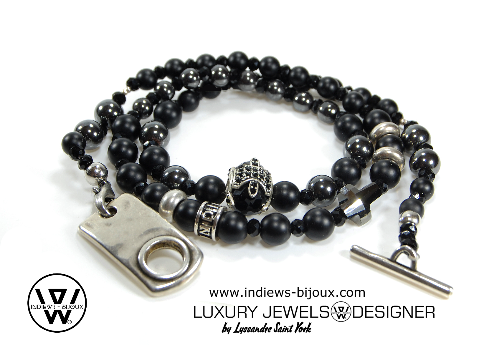 bracelet homme perle fashion 3 tours croix swarovski indiews bijoux. Black Bedroom Furniture Sets. Home Design Ideas