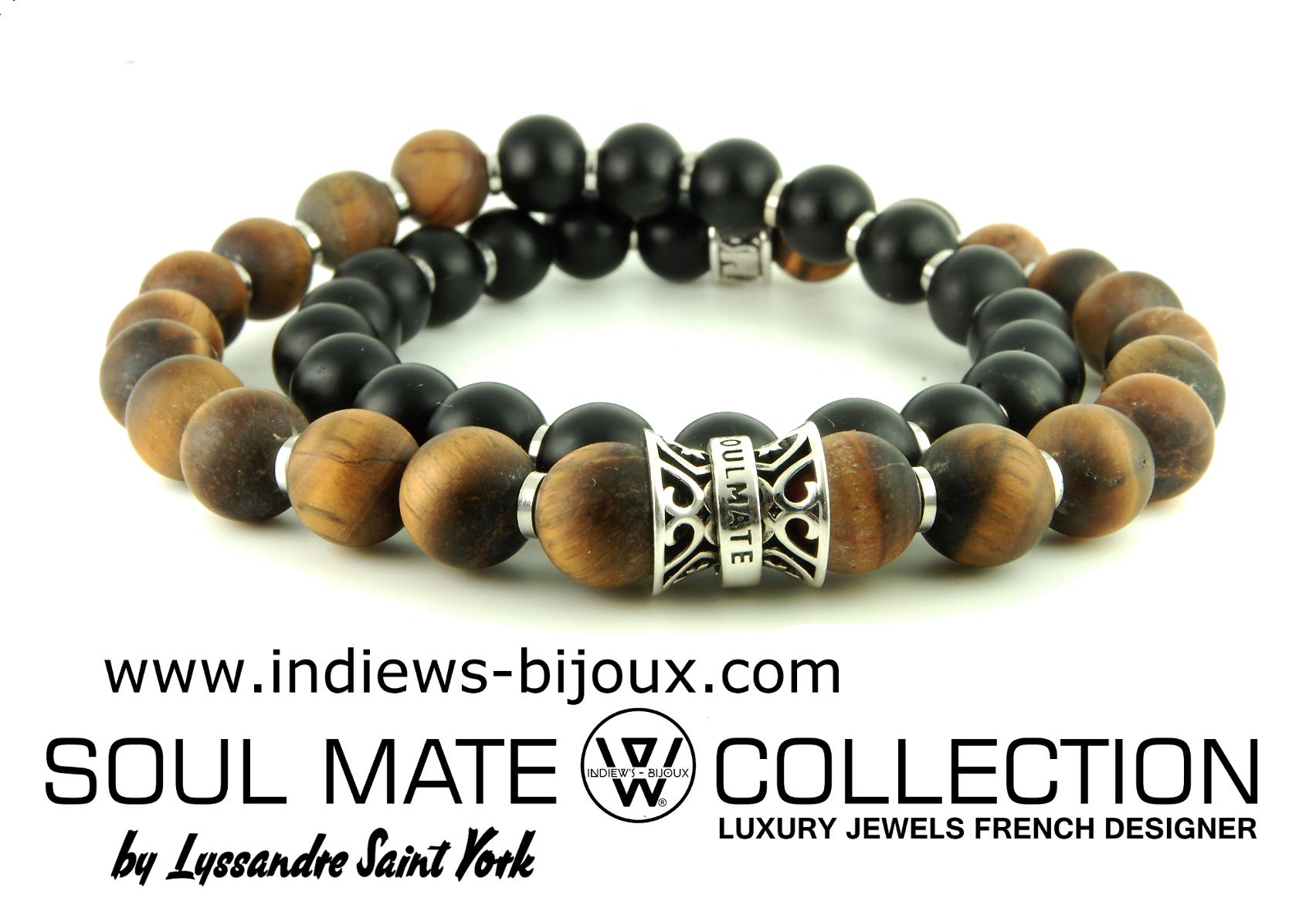 bracelet homme collection designer en argent et perle semi precieuses indiews bijoux. Black Bedroom Furniture Sets. Home Design Ideas