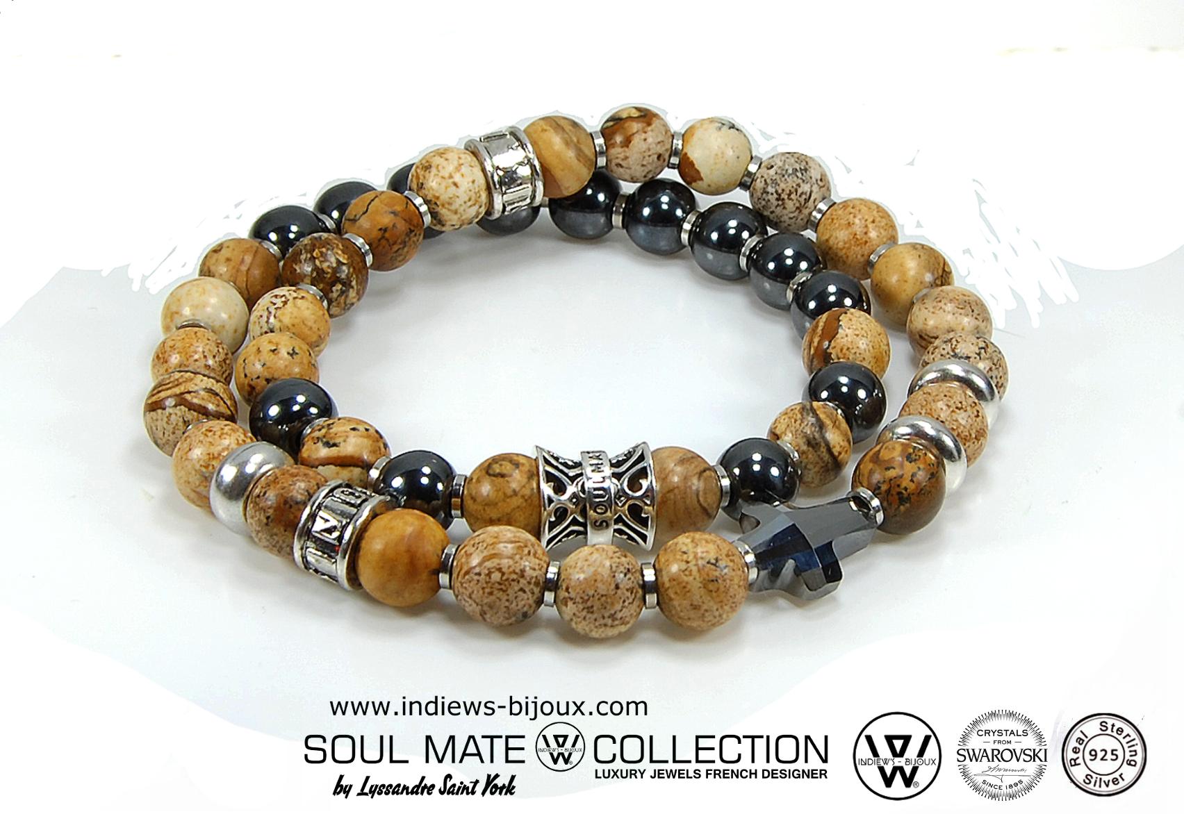 Super Bracelet homme luxe designer 2 tours argent 925 et swarovski  CR01