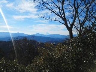 12/30  高尾山より富士山を望む。左の「ヒュイ」は謎。