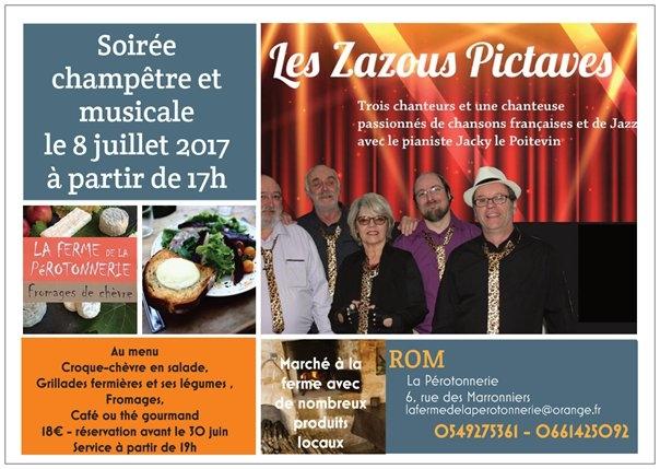 soirée champêtre et musicale - le menu - les Zazous Pictaves en juillet 2017 à la ferme de la Pérotonnerie de Rom
