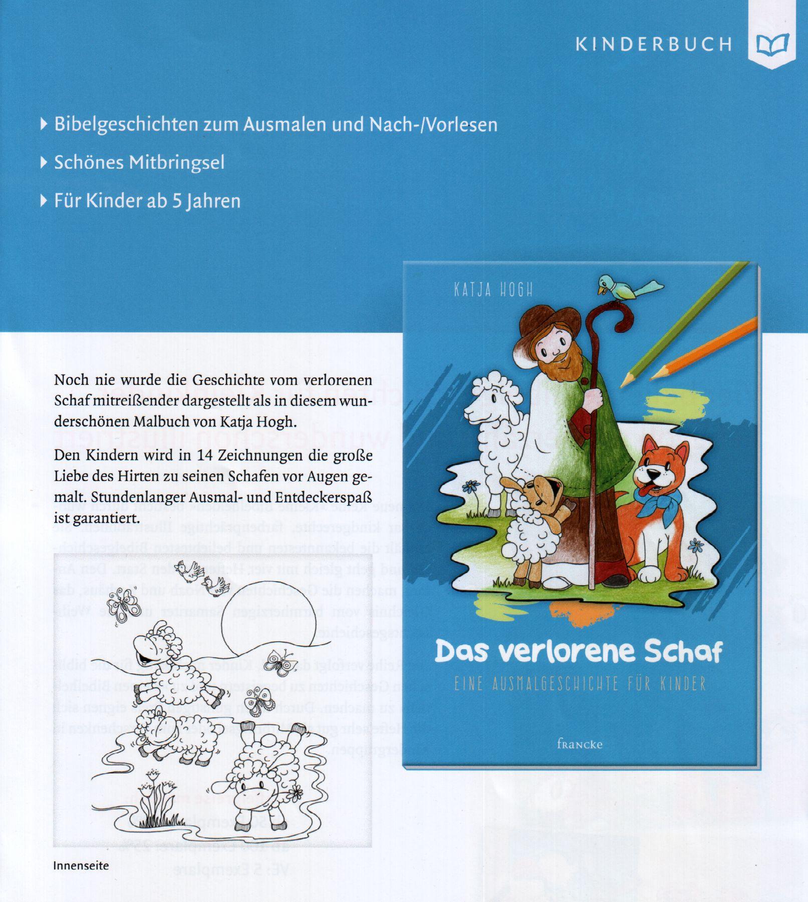 Das verlorene Schaf - Malbuch für Kinder