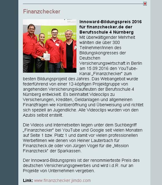 Innoward 2016 für finanzchecker.de