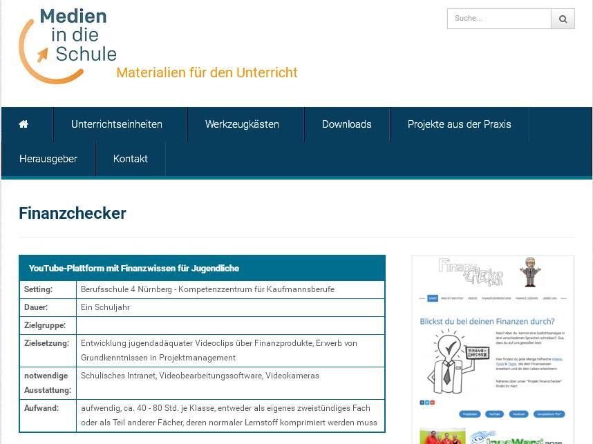 """Hinweis auf unser Projekt auf der Website """"Medien in die Schule"""" (Screenshot vom 31.12..2016)"""