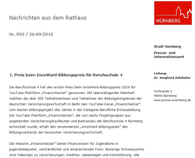 Pressemitteilung des Presseamts der Stadt Nürnberg (Screenshot vom 26.09.2016)
