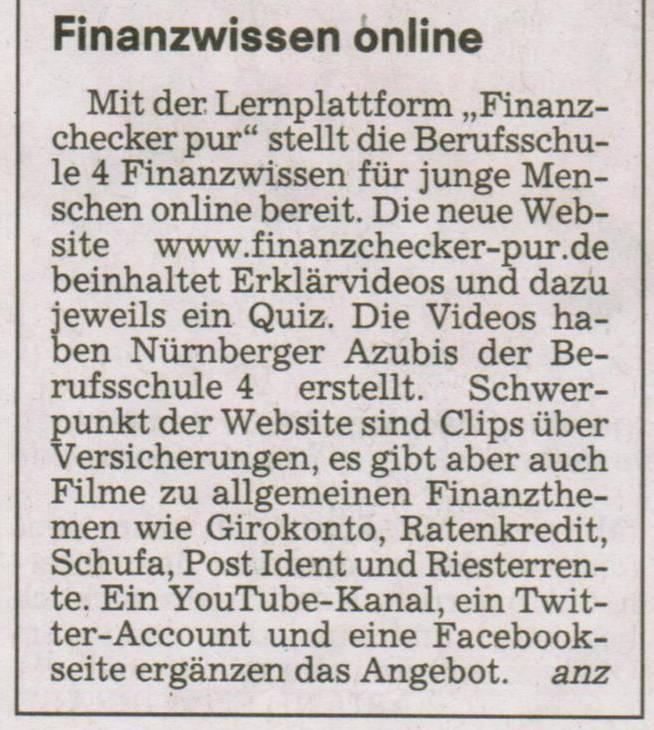"Nachfolgeprojekt ""Finanzchecker pur"""