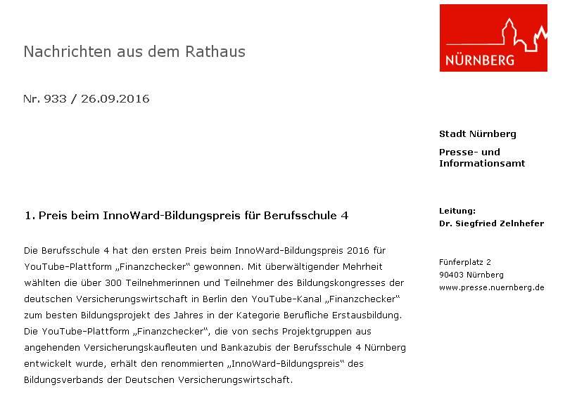 """Wir haben es tatsächlich geschafft!!! Platz 1 für den """"Finanzchecker""""!!! (Pressemeldung der Stadt Nürnberg vom 26.09.2016)"""