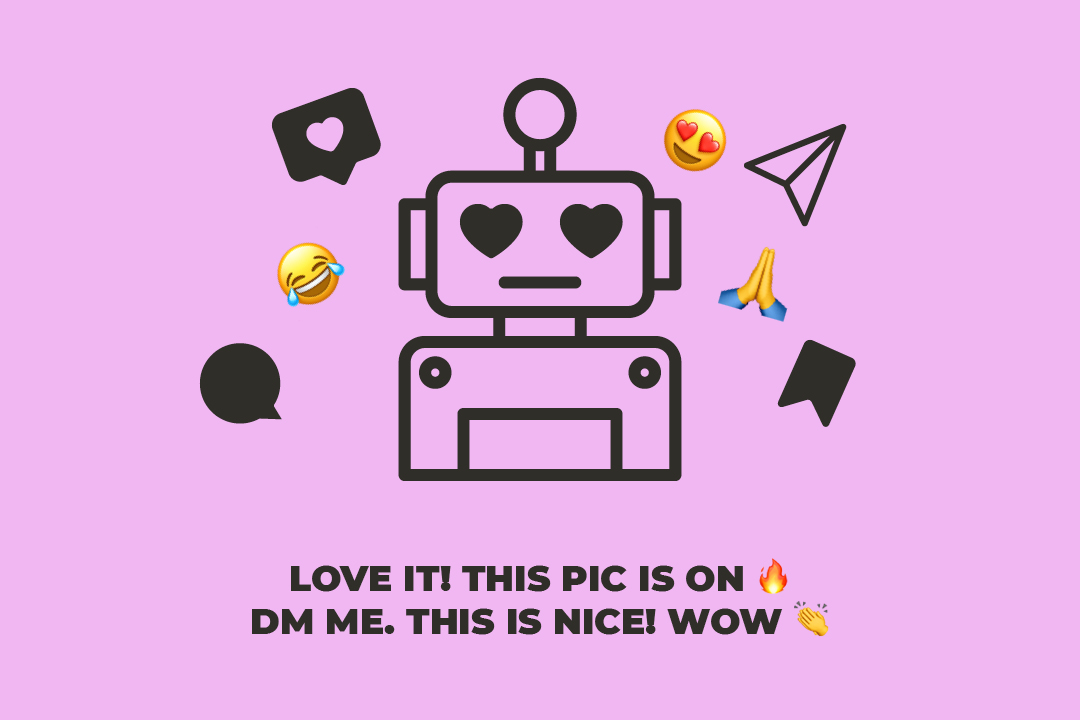instagram bot doing things for likes and follower. he doesn't feel anything. look at his face.
