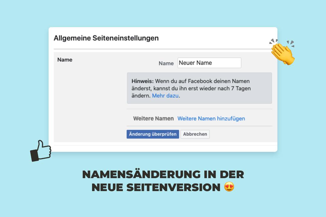 Wie ändere ich den Namen meiner Facebook-Seite in der neuen Seitenversion?
