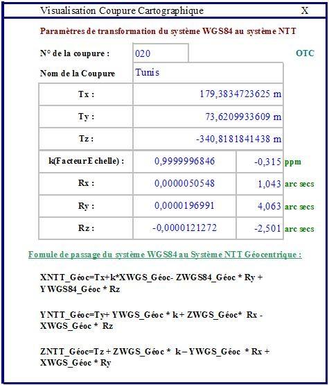 Formule Transformation Système WGS84 au système NTT