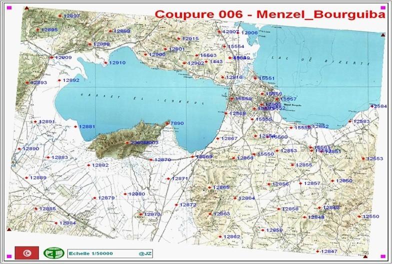Points Géodésique NTT injéctés dans la coupure cartographique au 1/50000