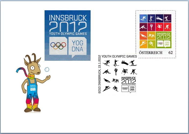Die  YOG-Marke (Auflage 1.500 Stück) auf Brief-Sonderstempel von Hannes Margreiter