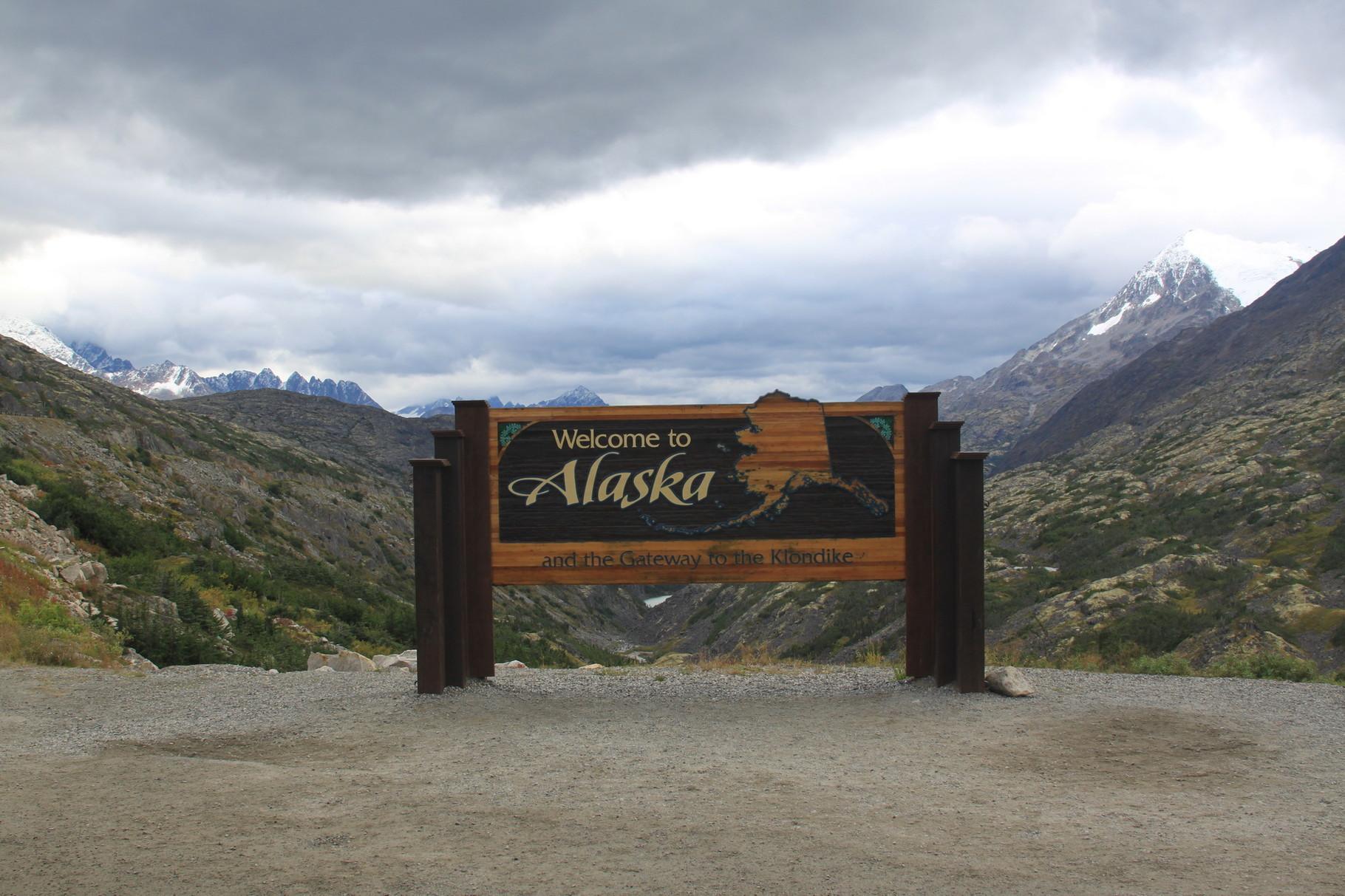 Rückfahrt aus Alaska auf der Passstrasse.