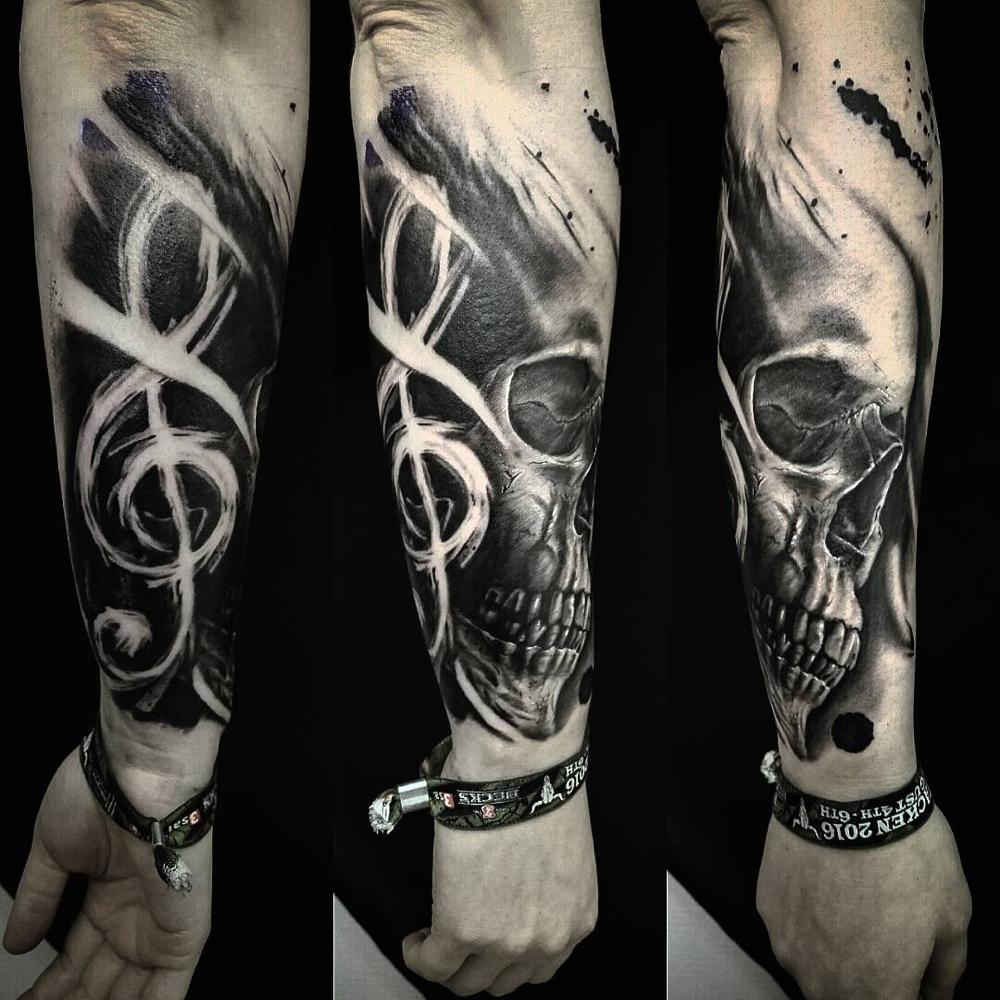 Schädel Tattoo Dar Art Wacken Musik Tätowierung Horror Realismus Realistik