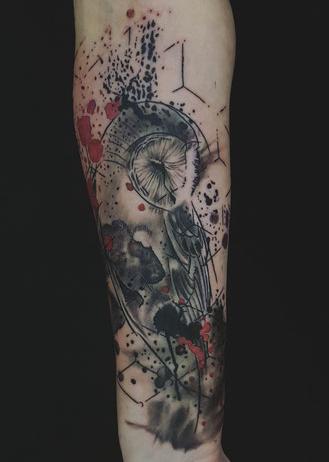 Sketch Tattoo Tätowierung Hamburg Josh Vangore Eule Owl Tattoo Tätowieren 040 Farbspritzer Thrash Polka Polkathrash thrashpolka trashpolka trash