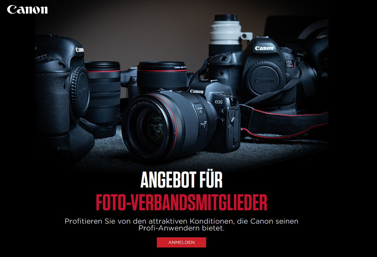 Canon: Fotoverbandsmitglieder profitieren von zusätzlich 5% Rabatt