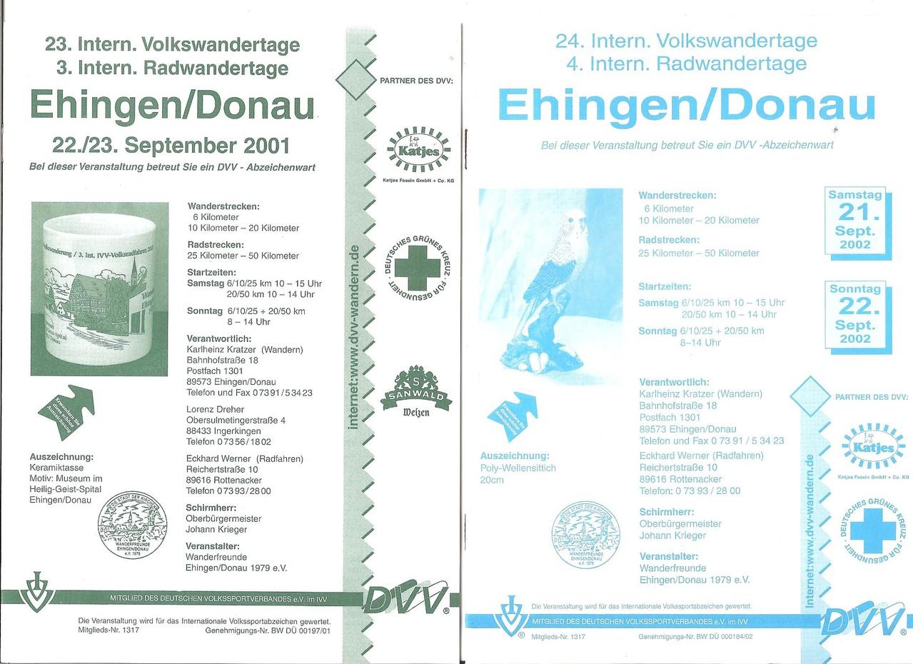 Ausschreibungen unserer 23. und 24. Internationalen Volkswanderungen, 3. und 4. Radwandertage.) im Jahre 2001/2002 (September)