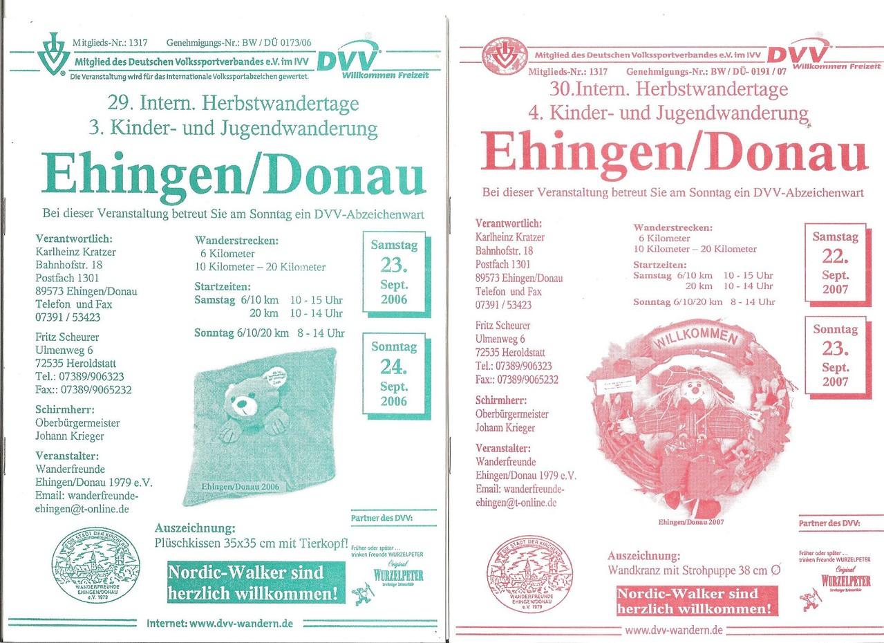 Ausschreibungen unserer 29. und 230. Internationalen Herbstwandertage, 3. und 4. Kinder- und Jugendwandertage im Jahre 2006/2007 (September)