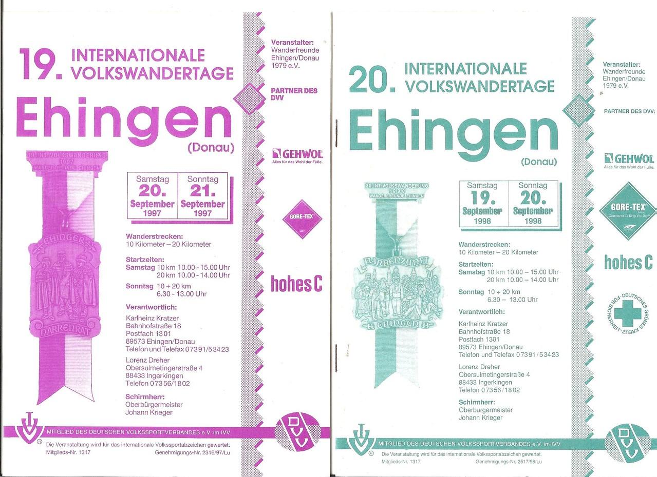 Ausschreibungen unserer 19. und 20. Internationalen Volkswanderungen im Jahre 1997/1998 (September)