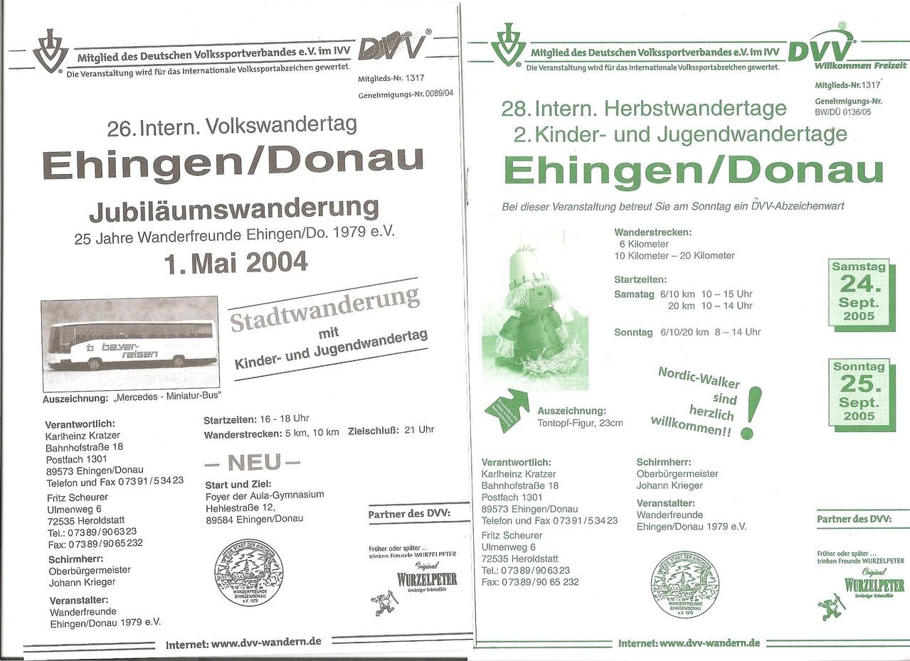 Ausschreibung unserer Jubiläumswanderung 25 Jahre Wanderfreunde Ehingen/Donau 1979 e.V. , 1.  Kinder- und Jugendwandertage, 28. Internationale Herbstwandertage und. 2. Kinder- und Jugendwandertage im Jahre 2004/2005 (Mai/September)