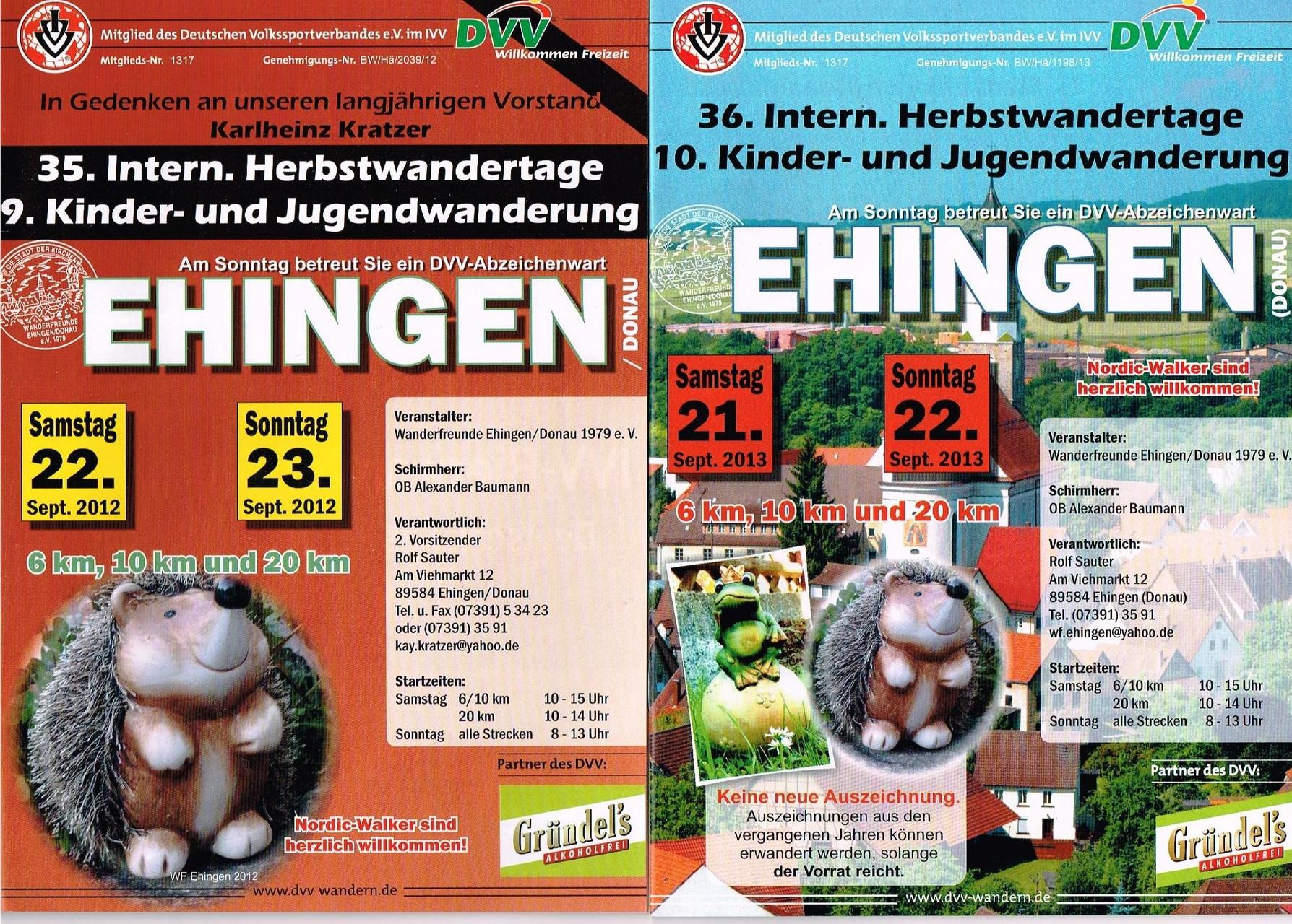 Ausschreibungen unserer 35. und 36. Internationalen Herbstwandertage, 9. und 10. Kinder- und Jugendwandertage im Jahre 2012/2013 (September)