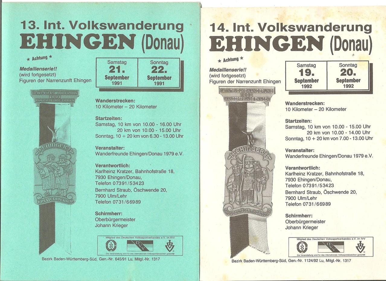 Ausschreibungen unserer 13. und 14. Internationalen Volkswanderungen im Jahre 1991/1992 (September)