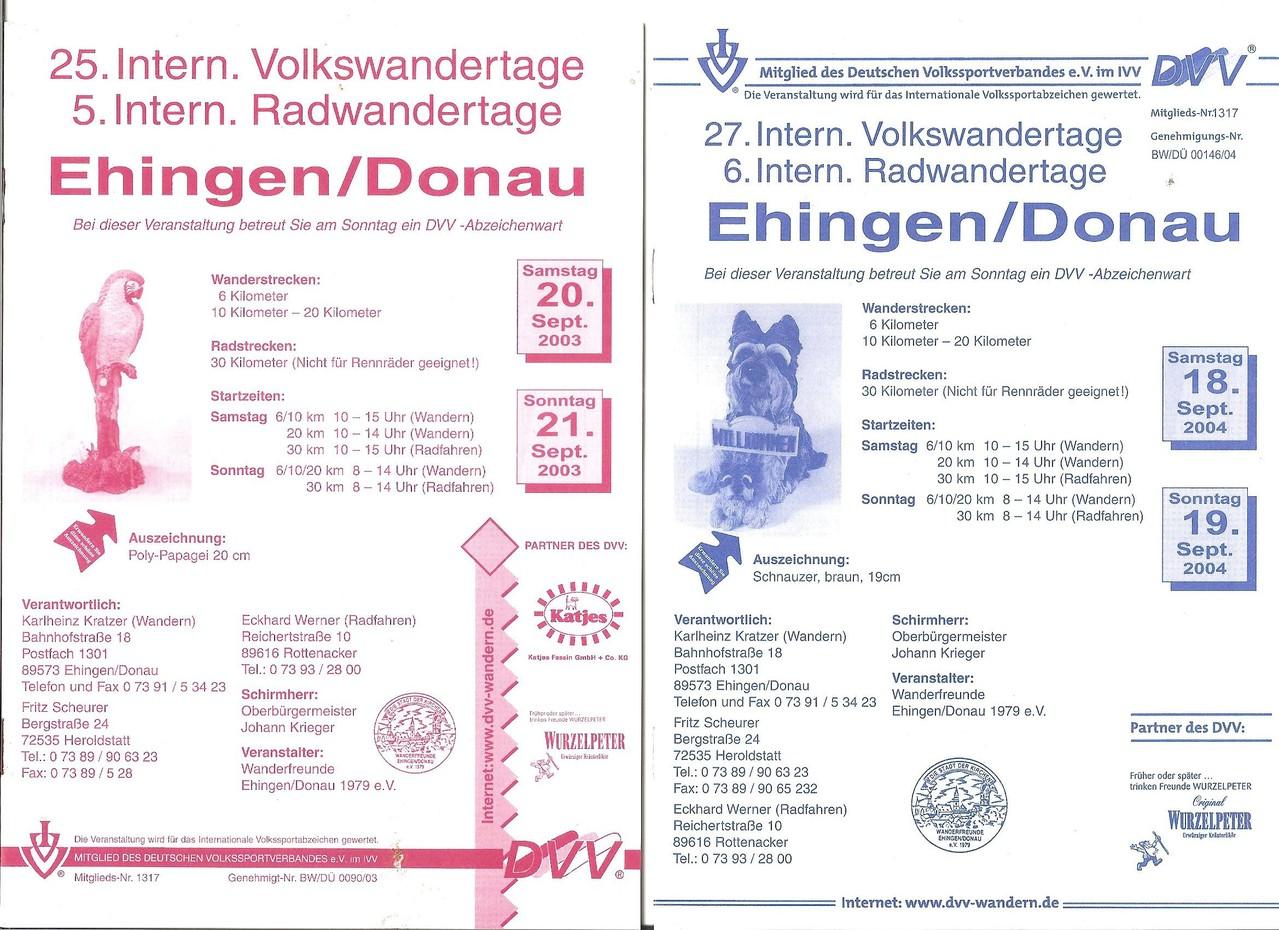 Ausschreibungen unserer 25. und 27. Internationalen Volkswanderungen, 5. und 6. Radwandertage.) im Jahre 2003/2004 (September)