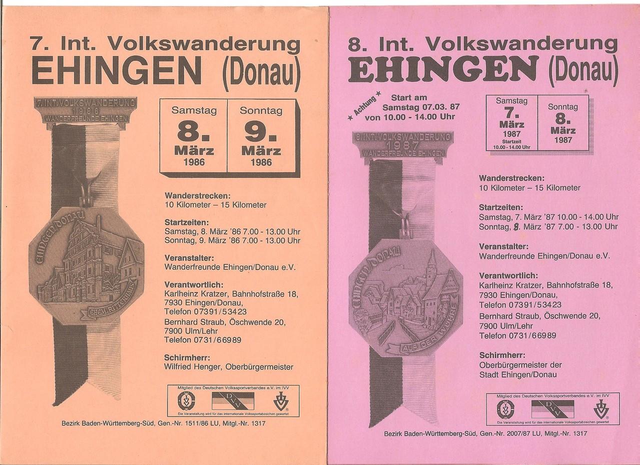 Ausschreibungen unserer 7. und 8. Internationalen Volkswanderungen im Jahre 1986/1987 (März)