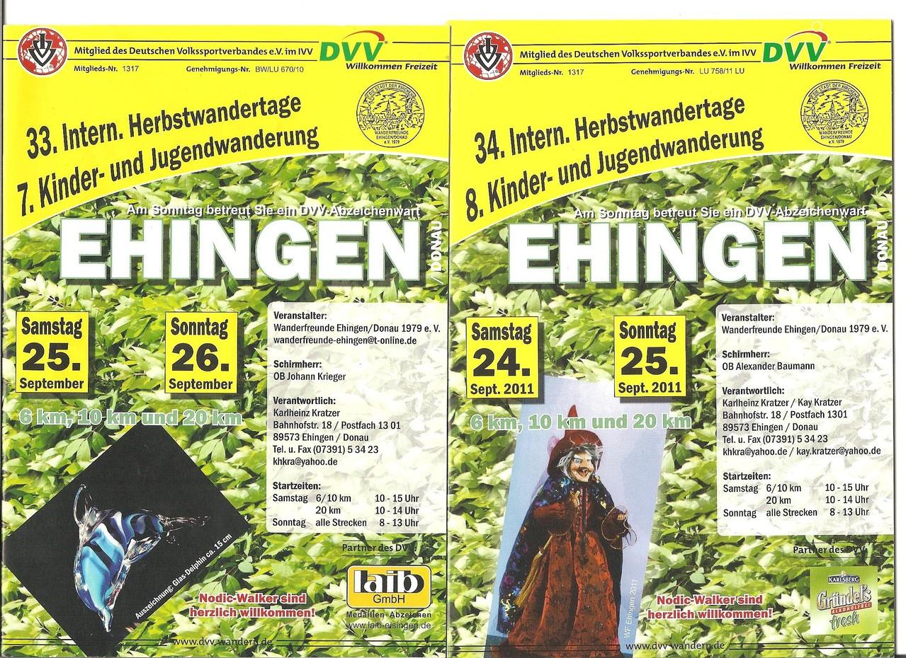 Ausschreibungen unserer 33. und 34. Internationalen Herbstwandertage, 7. und 8. Kinder- und Jugendwandertage im Jahre 2010/2011 (September)