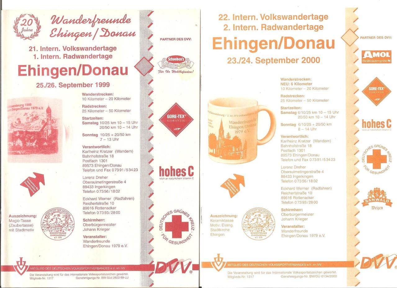 Ausschreibungen unserer 21. und 22. Internationalen Volkswanderungen, 1. und 2. Radwandertage (Jubiläumswanderung/20 Jahre Wanderfreunde Ehingen/Donau 1979 e.V.) im Jahre 1999/2000 (September)