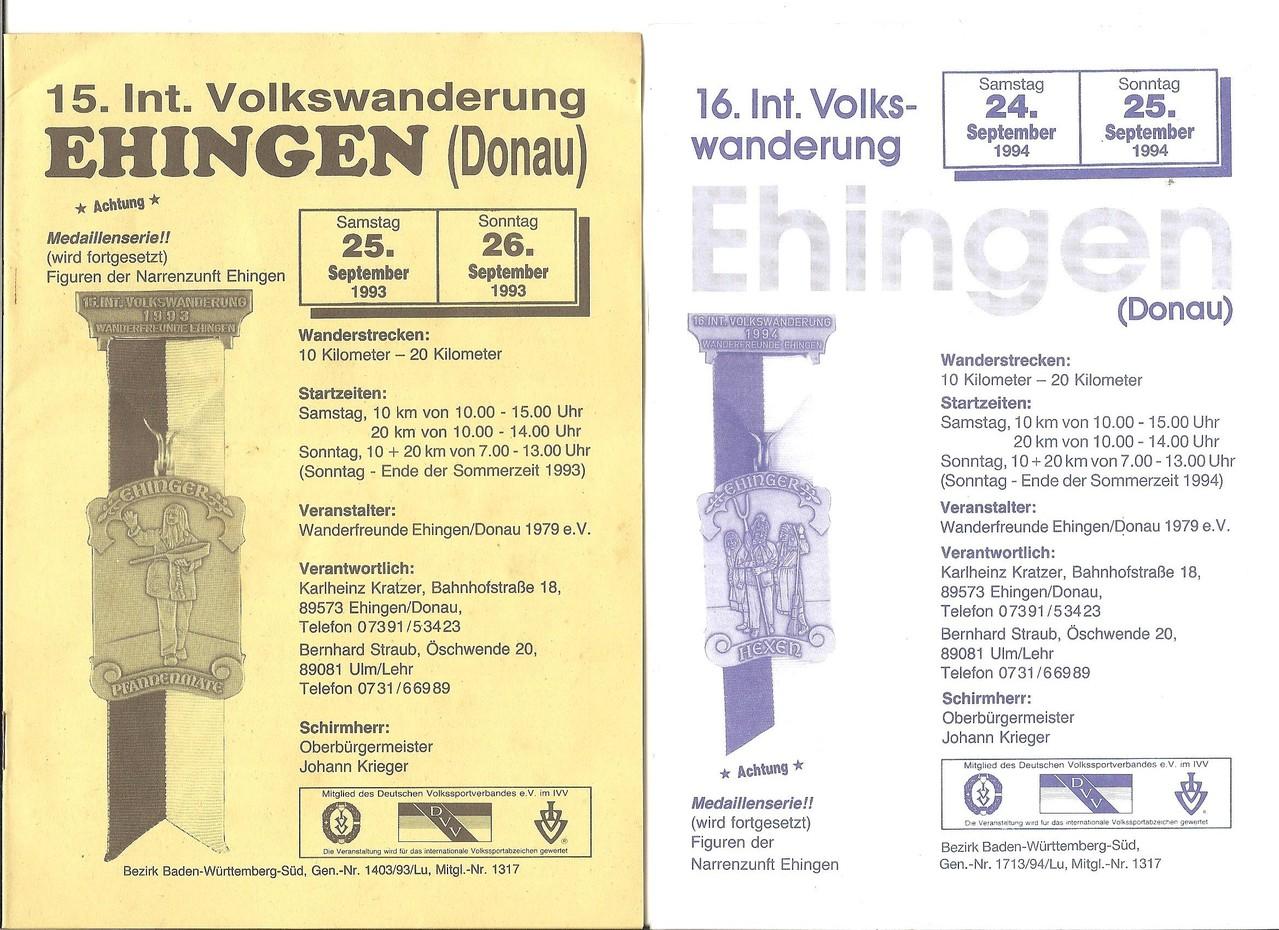 Ausschreibungen unserer 15. und 16. Internationalen Volkswanderungen im Jahre 1993/1994 (September)