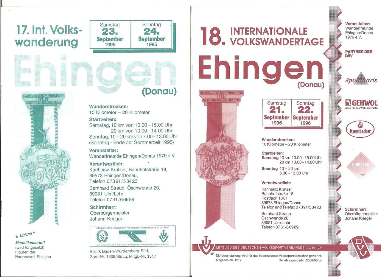 Ausschreibungen unserer 17. und 18. Internationalen Volkswanderungen im Jahre 1995/1996 (September)
