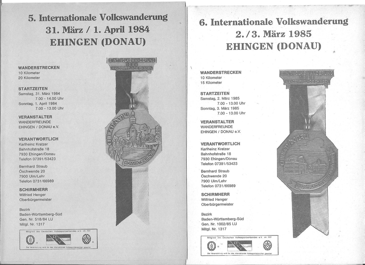 Ausschreibungen unserer 5. und 6. Internationalen Volkswanderungen im Jahre 1984/1985 (April/März)