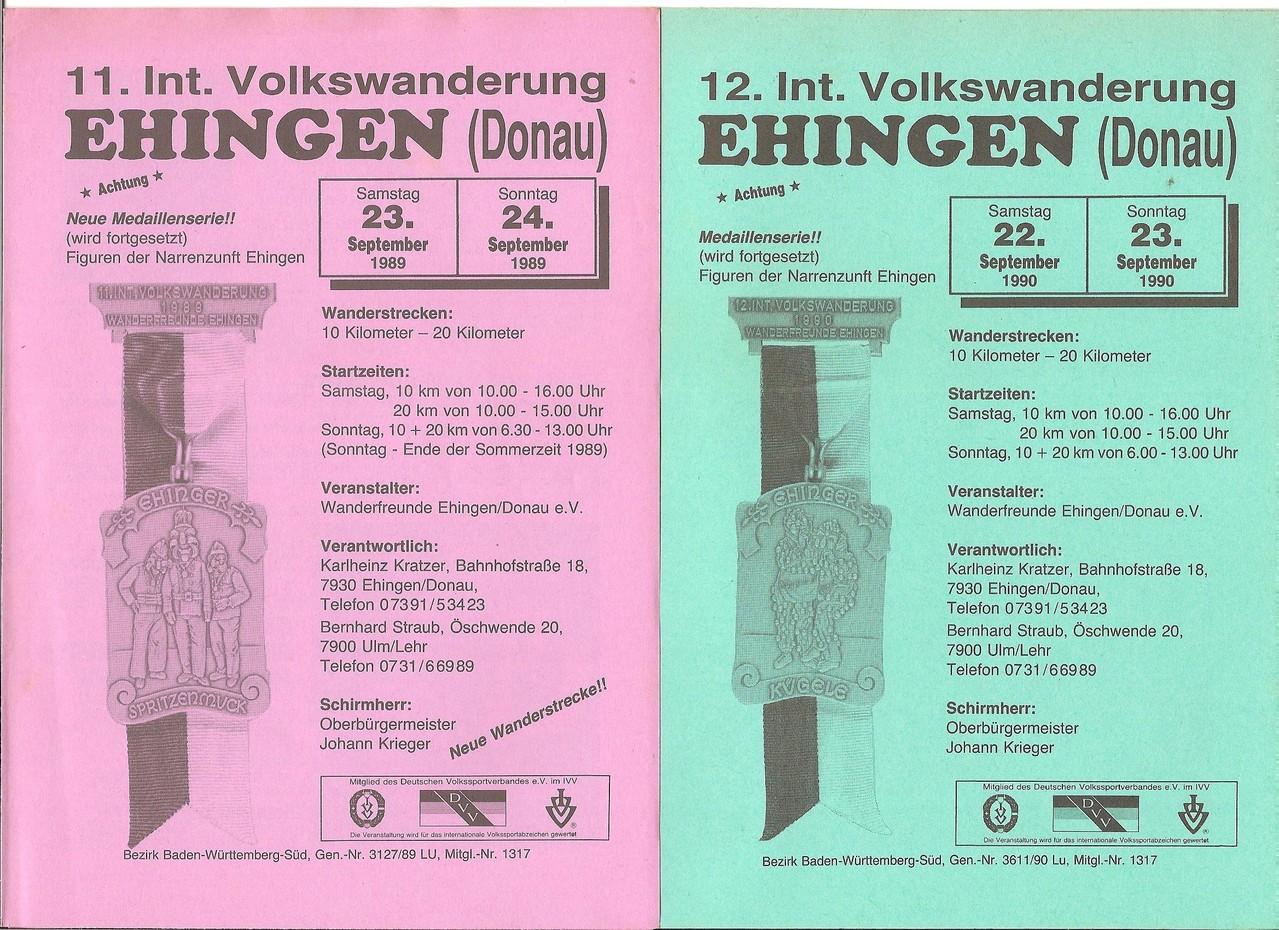 Ausschreibungen unserer 11. und 12. Internationalen Volkswanderungen im Jahre 1989/1990 (September)