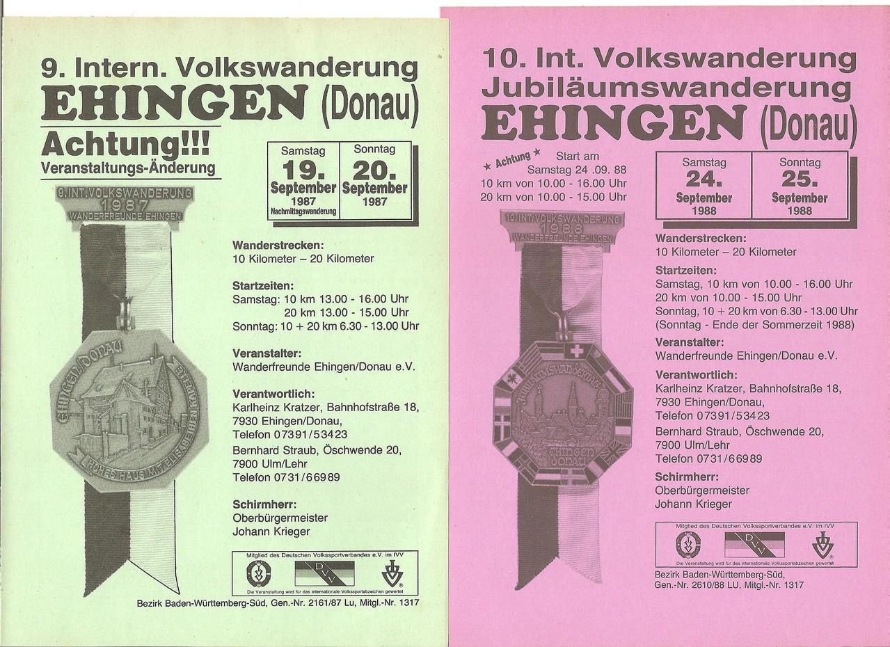 Ausschreibungen unserer 9. und 10. Internationalen Volkswanderungen (Jubilämumswanderung) im Jahre 1987/1988 (September)