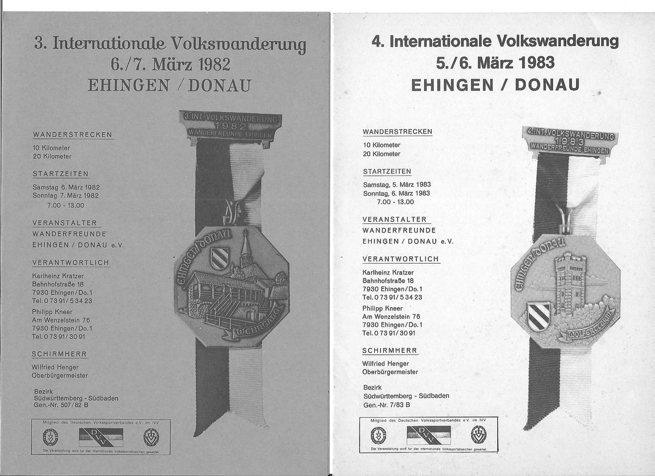 Ausschreibungen unserer 3. und 4. Internationalen Volkswanderungen im Jahre 1982/1983 (März)