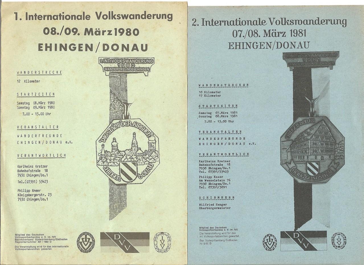 Ausschreibungen unserer 1. und 2. Internationalen Volkswanderungen im Jahre 1980/1981 (März)