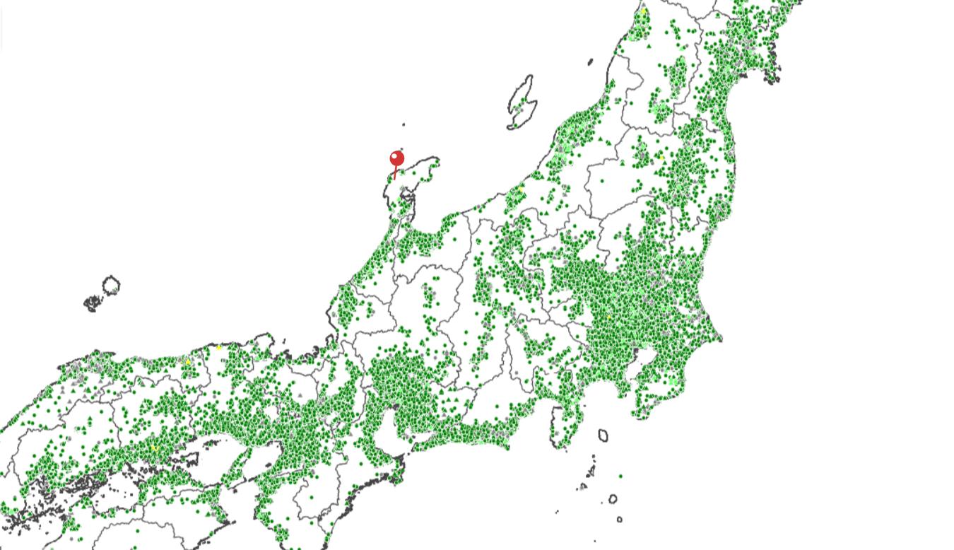 地盤ネットの地盤調査・解析件数で日本列島が浮かんでくるってばよ!