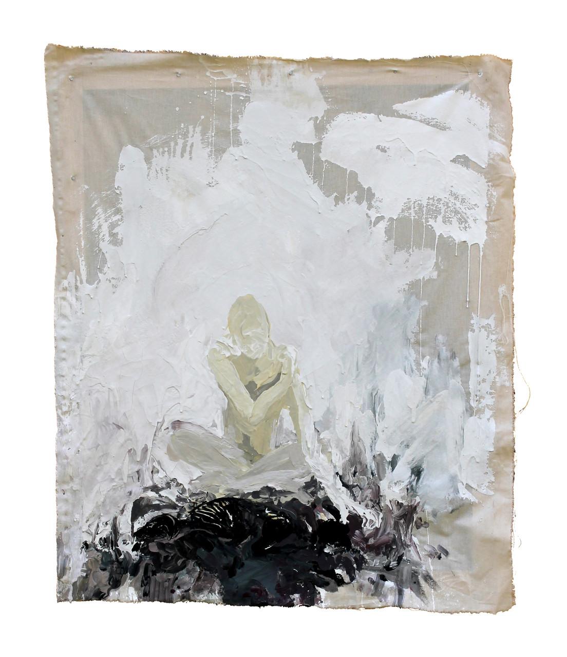 """""""blackened dog""""  acryl auf Leinwand  70x50cm  2012 (sold)"""