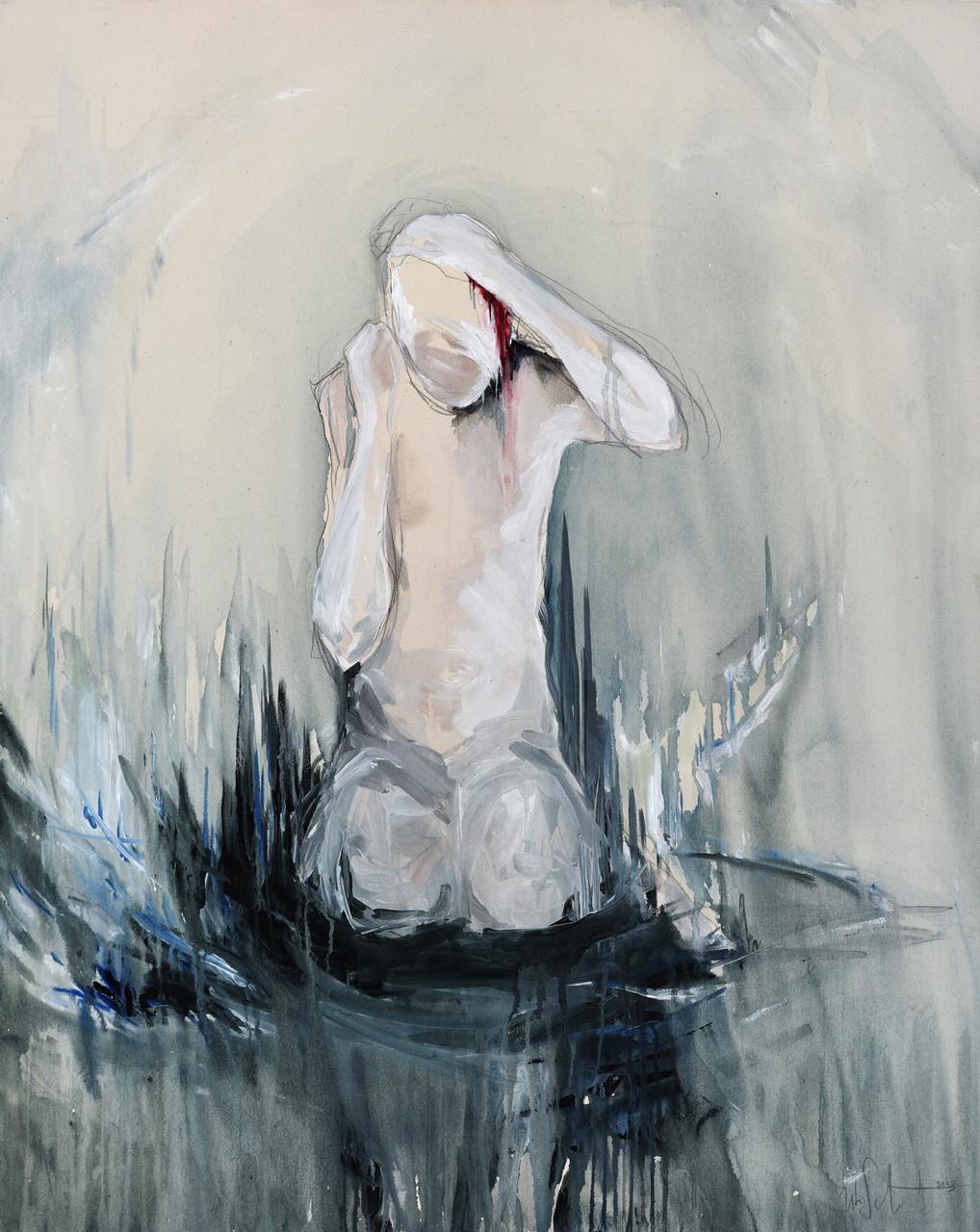 """""""daniel (bleeding)""""  acryl auf leinwand 100x80 2013 (sold)"""