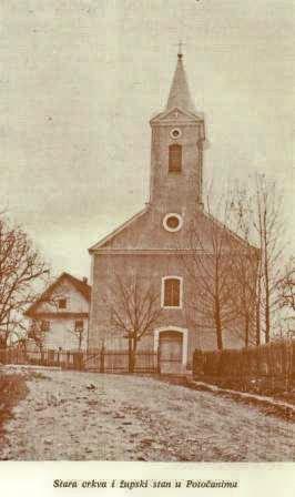 Izgled stare crkve i župskog stana u Potočanima