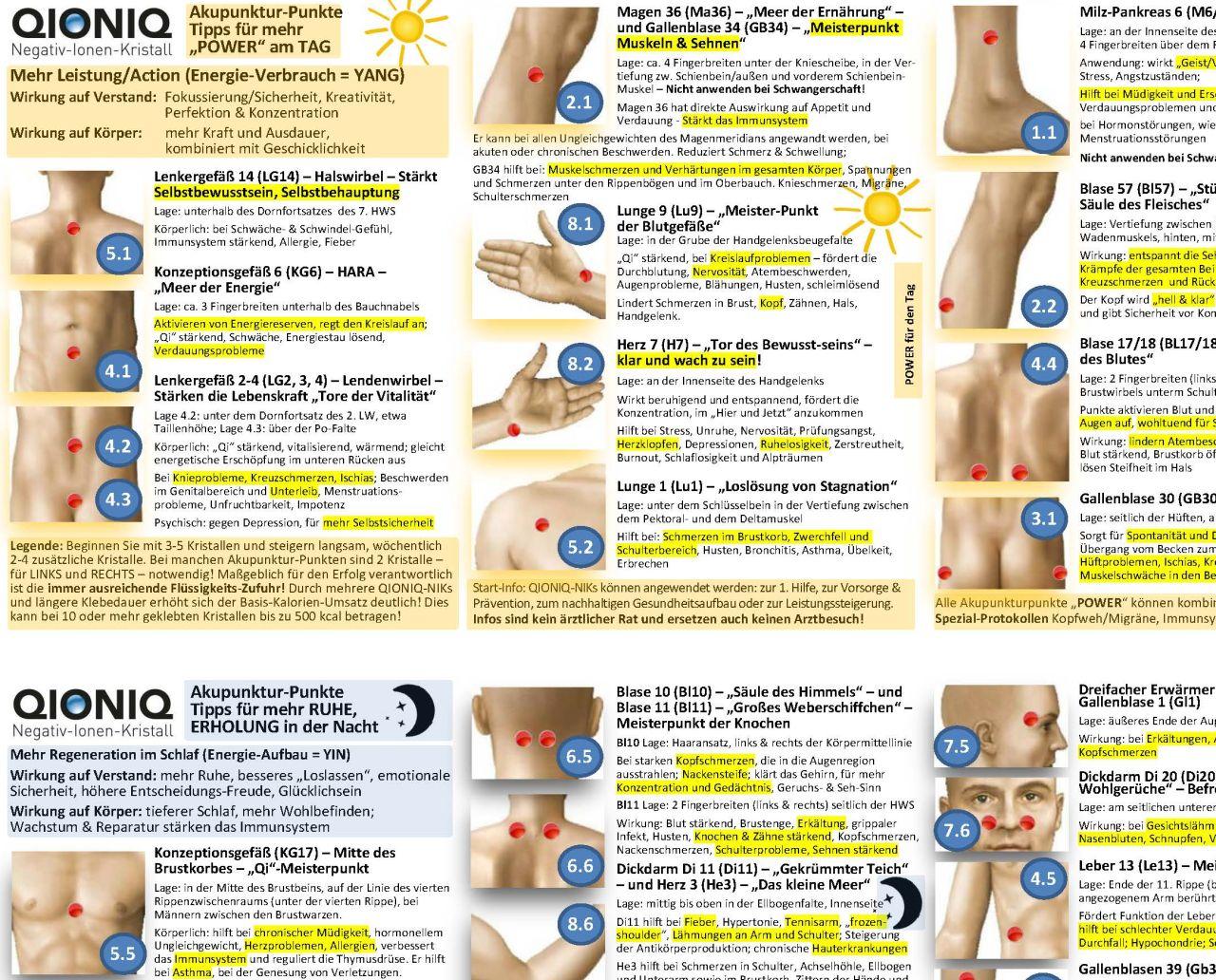 """Gratis E-Book mit 24 QIONIQ-Akupunktur-Punkten für mehr """"POWER"""" am TAG und mehr  ERHOLUNG in der Nacht - bei Newsletter-Anmeldung"""