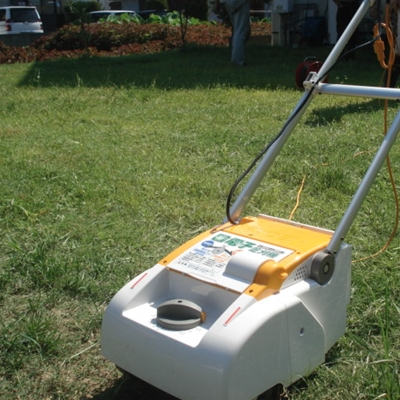8月7日 地元リョービの芝刈り機が誇らしげです。