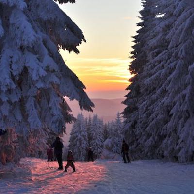 Familienabfahrt im Winter