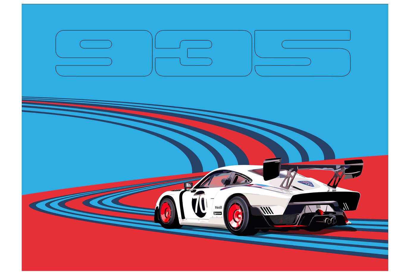 Illustration Porsche 935 Martini Racing