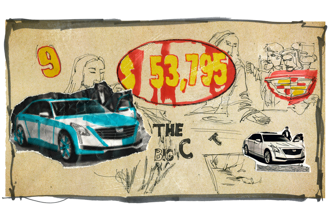 """Illustration Cadillac """"Letters to Andy Warhol"""""""
